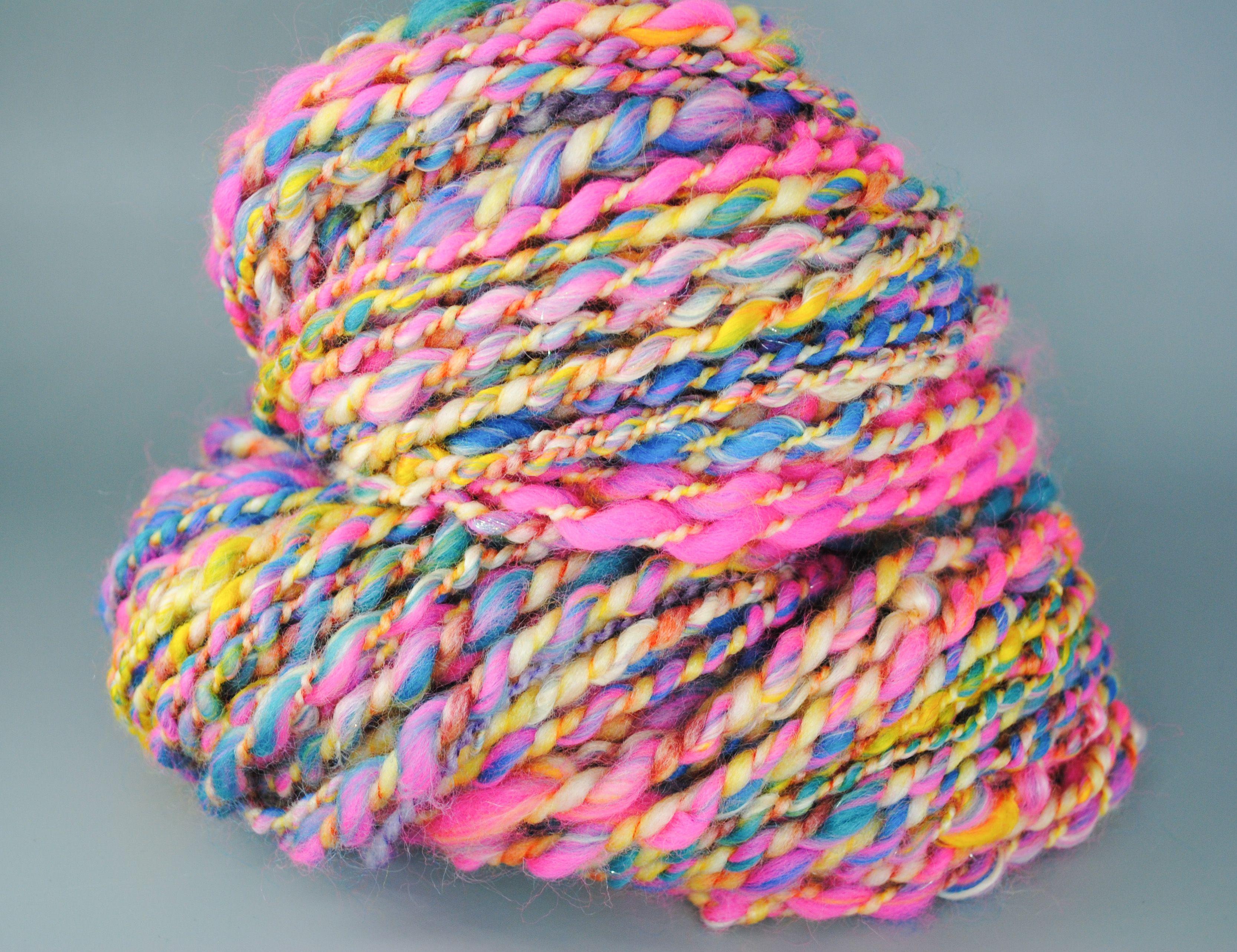 Cotton Candy Handspun Yarn For Knitting Crochet And